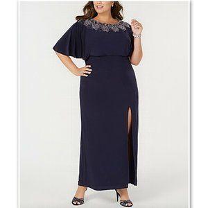 NWT Betsy & Adam Beaded Blouson Dress Gown 14W